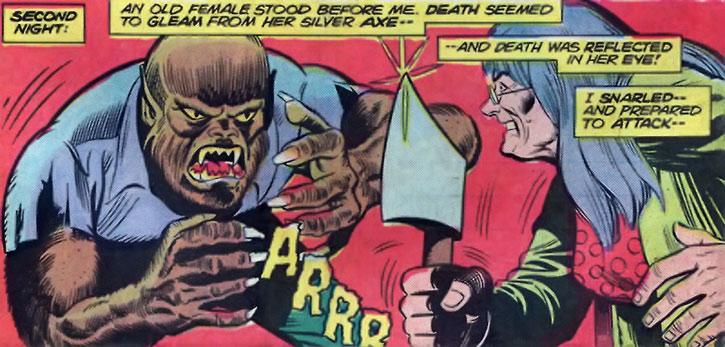 Ma Mayhem faces the Werewolf with her hatchet