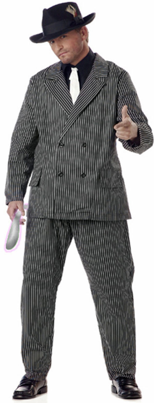 Man in a pin stripe suit and pimp hat