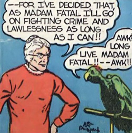 Madam Fatal (Quality Crack Comics) and her parrot