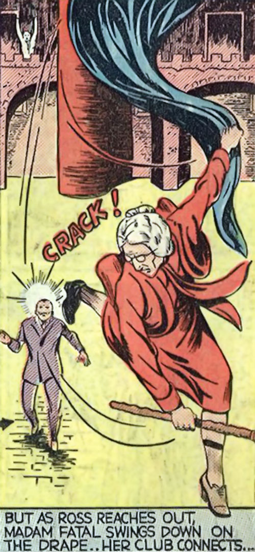 Madam Fatal (Quality Crack Comics) swings down on the drape to attack