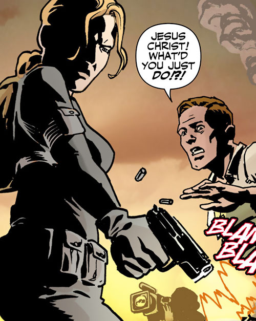 Mademoiselle Marie of Checkmate (Tautin) (DC Comics) firing a compact pistol