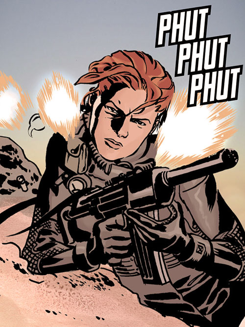 Mademoiselle Marie of Checkmate (Tautin) (DC Comics) firing a silenced SMG