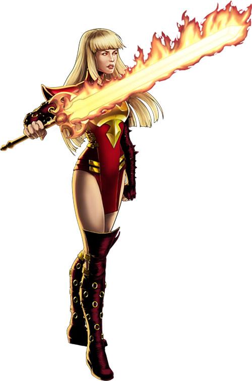 Magik of the New Mutants (Marvel Comics) with a big flaming sword