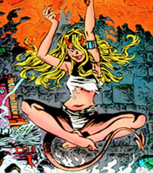 Magik of the New Mutants (Marvel Comics) levitating and casting spells