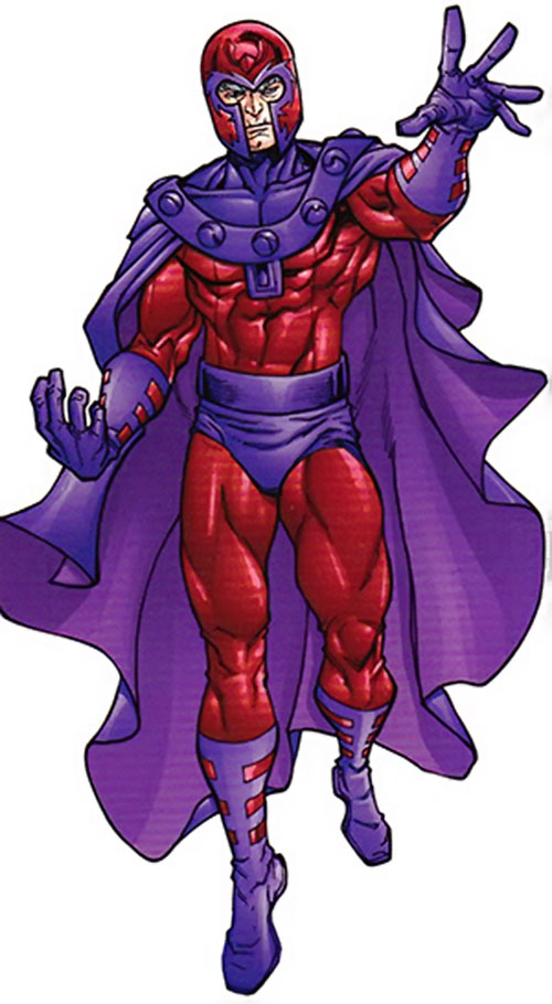Magneto (Marvel Comics) with aged features, on a white background