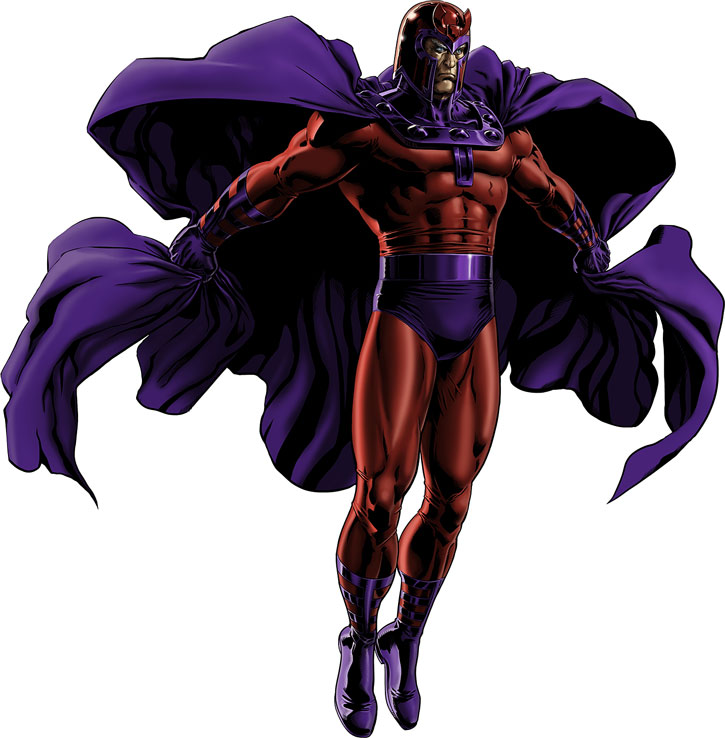 Magneto (Marvel Comics) in majesty over a white background
