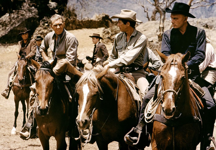 The Magnificent 7 (front: Yul Brynner, James Coburn and Steve McQueen) in the desert
