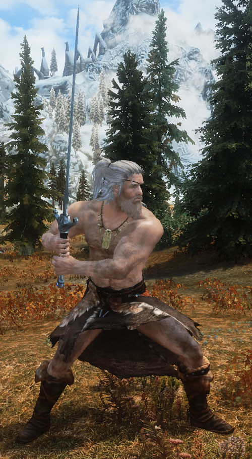 Magnir (D&D paladin) practicing with a two-handed sword
