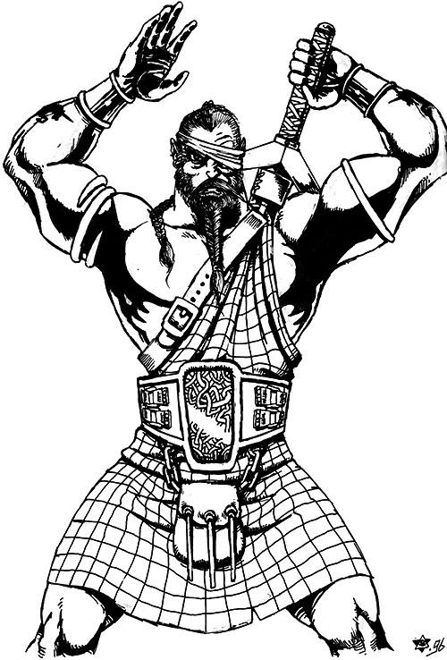 Magnir (D&D paladin) with a kilt