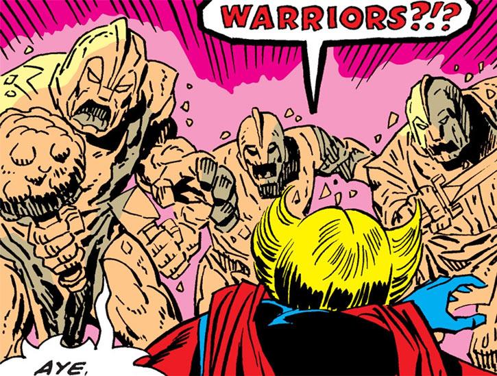 Magnum's stone warriors confront Ms. Marvel
