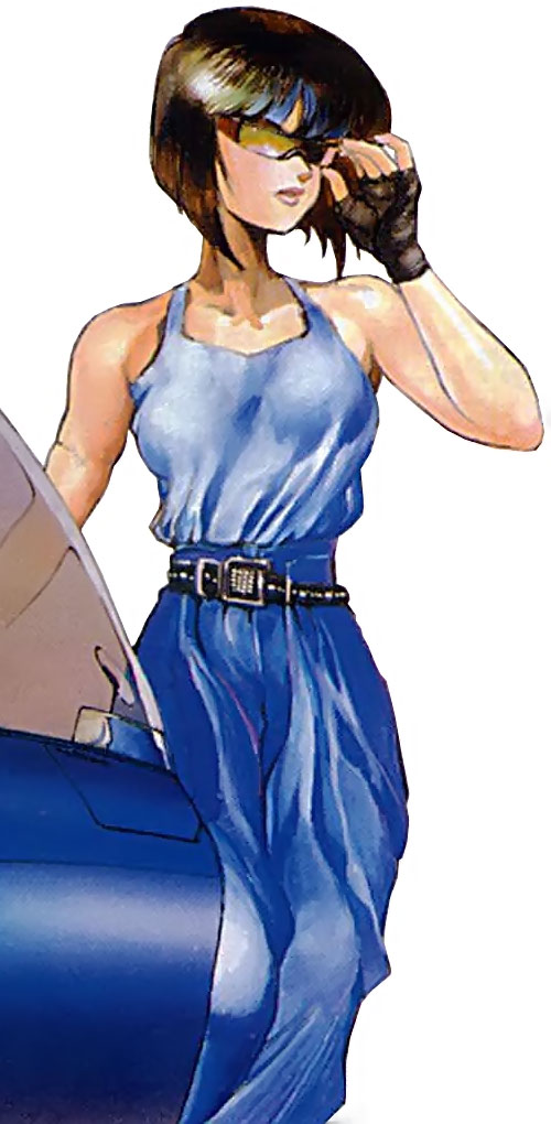 Major Kusanagi dressed in blue with a tank top