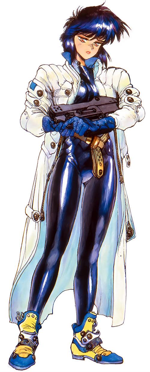 Major Kusanagi in dark purple leather