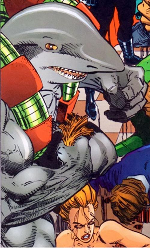 Mako (Savage Dragon comics) dragging a woman by the hair