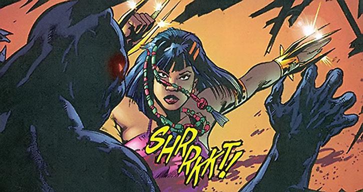 Malice (Nakia) slashes the Black Panther
