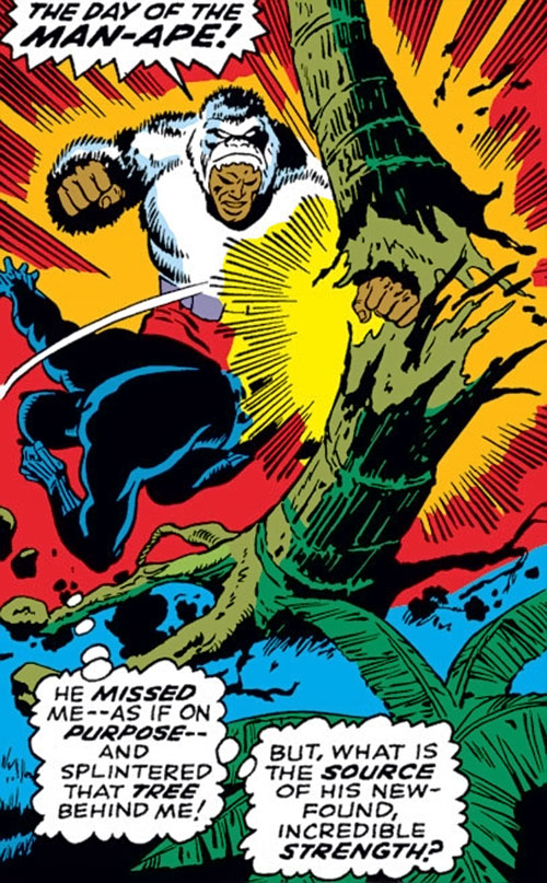 Man-Ape (Marvel Comics) (Black Panther character) punches through a tree