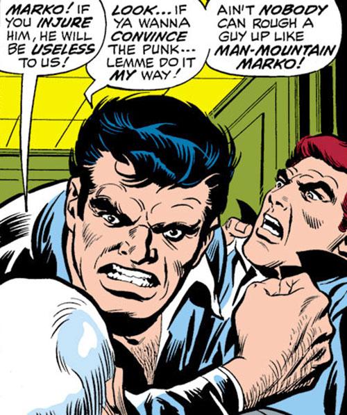 Man-Mountain Marko (Spider-Man enemy) (Marvel Comics) threatening face closeup