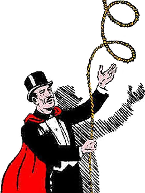 Mandrake the Magician does a rope trick