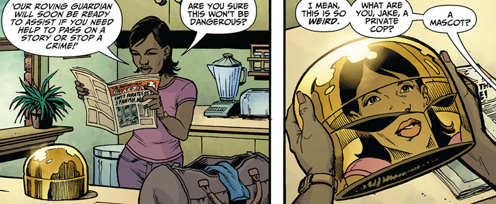 Carla Marcus and the Manhattan Guardian newspaper and helmet (DC Comics - 7 soldiers)