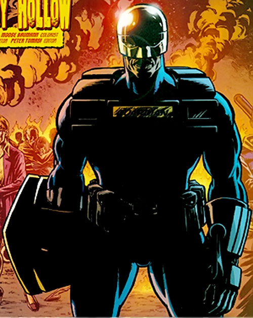 Manhattan Guardian of the 7 Soldiers (DC Comics) standing in front of flames