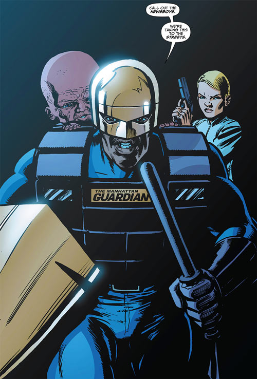 Manhattan Guardian of the 7 Soldiers (DC Comics) with shield and truncheon