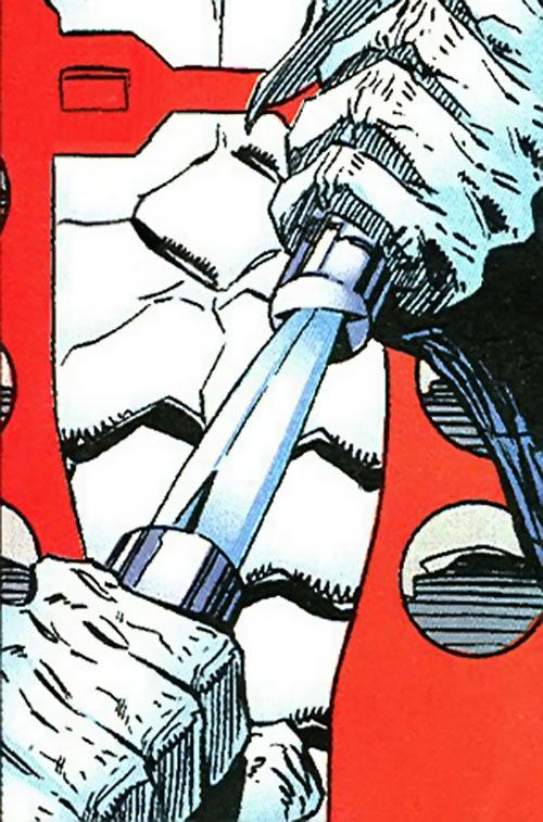 Manhunter (Chase Lawler) (DC Comics) drawing his knife