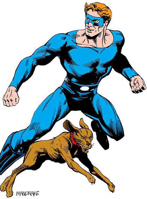 Manhunter (Dan Richards) and his dog Thor, from the Who's Who