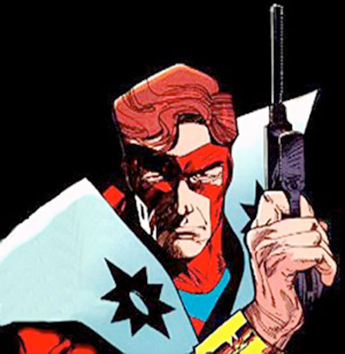 Manhunter (Paul Kirk) (DC Comics) (Red and white costume) portrait with pistol