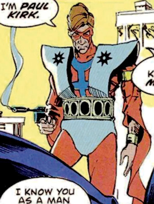 Manhunter (Paul Kirk) (DC Comics) (Red and white costume) with a smoking pistol