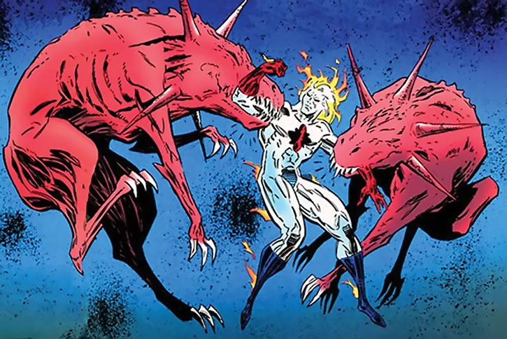 Two Gabriel Hounds sent by Manhunter (Chase Lawler) after Captain Atom