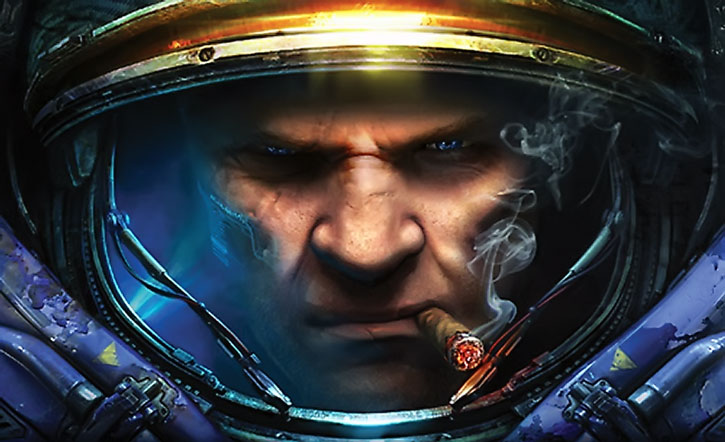 Face of a typical Starcraft marine