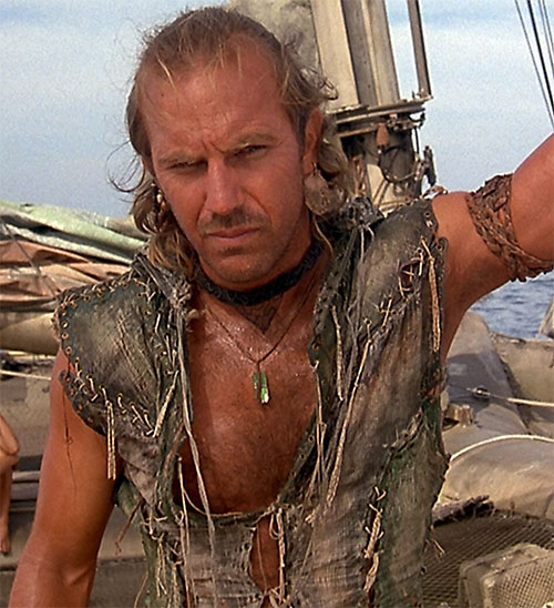 Mariner (Kevin Costner in Waterworld) on his catamaran