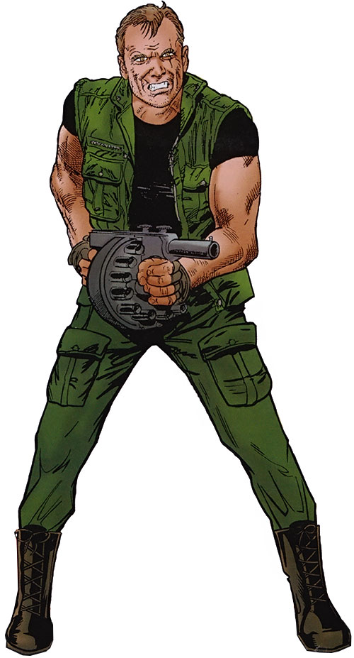Mark Hazzard with a grenade launcher