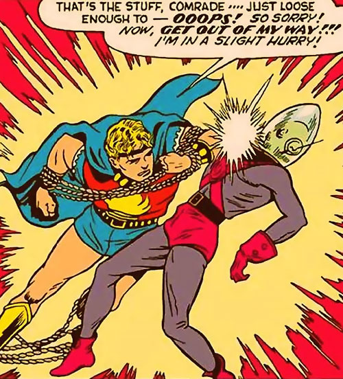 Marvel Boy of the 1950s (Atlas Comics) elbows an alien in the face
