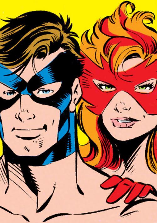 Marvel Boy and Firestar faces closeup - Marvel Comics