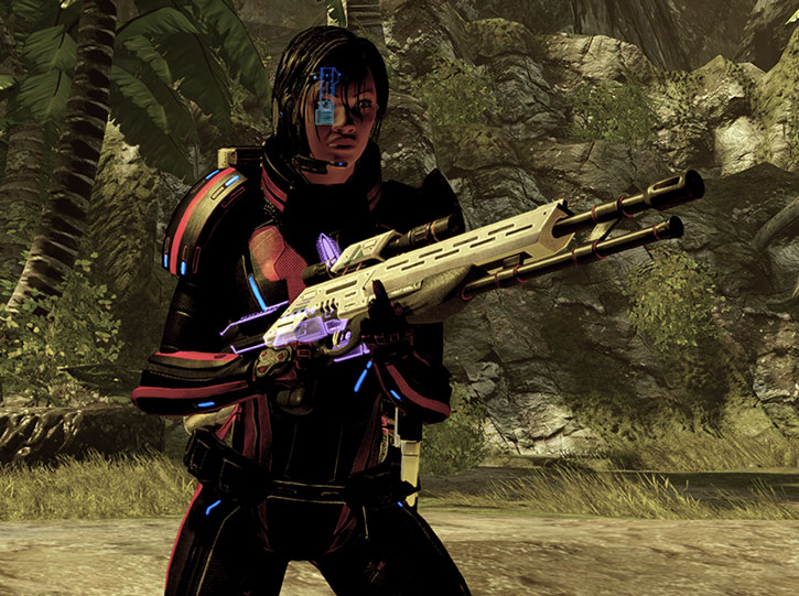 Commander Shepard with her Viper rifle