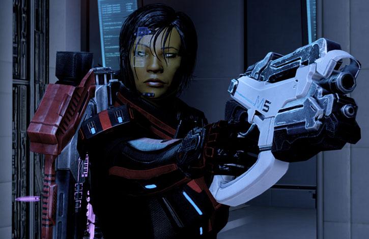 Commander Shepard points a M-5 Phalanx pistol