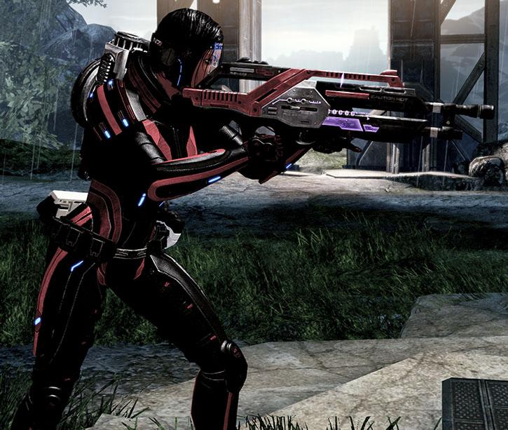 Commander Shepard with a shouldered Revenant machinegun