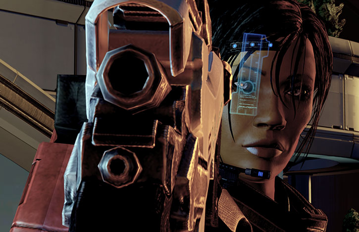 Commander Shepard in a Dirty Harry pose