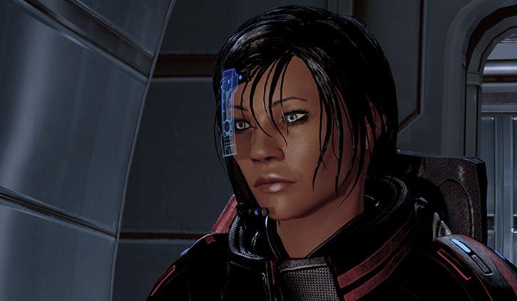 Commander Shepard with her visor on