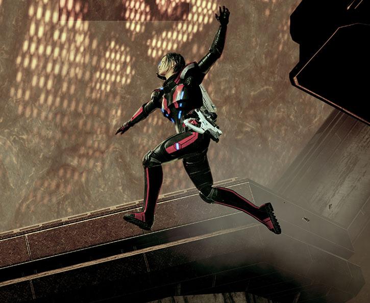 Commander Shepard makes a long jump