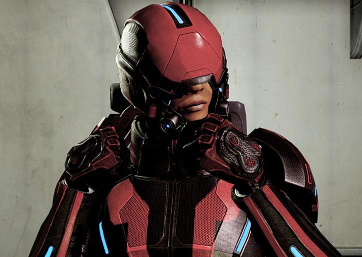 Commander Shepard in full Kestrel armor