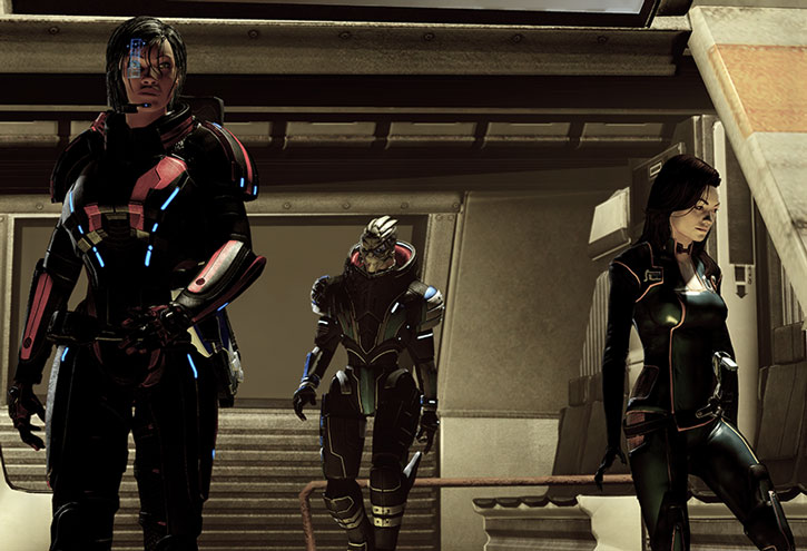 Commander Shepard, Garrus and Miranda disembark from a shuttle