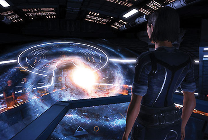 Commander Shepard looking at the galaxy map