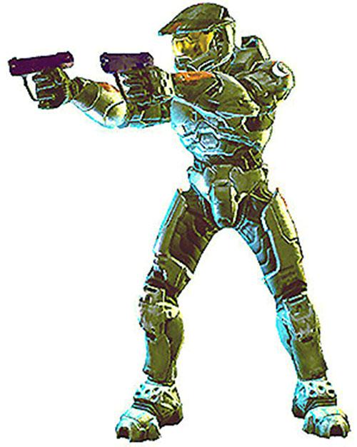 Spartan soldier (Halo) dual-wielding pistols