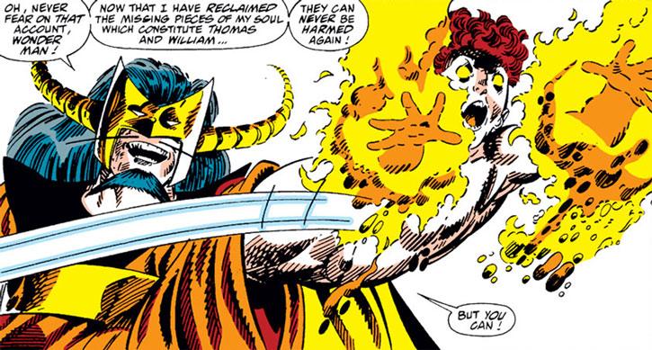 Master Pandemonium turns his hands into flamethrowing demon babies