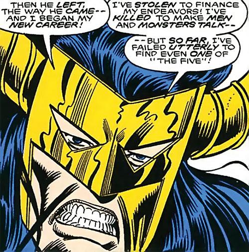 Master Pandemonium (Avengers enemy) (Marvel Comics) mask and teeth closeup