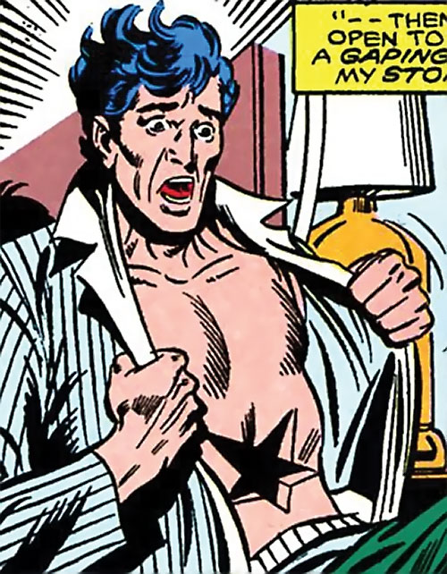 Master Pandemonium (Avengers enemy) (Marvel Comics) discovering the hole in his stomach