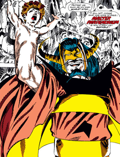 Master Pandemonium (Avengers enemy) (Marvel Comics) showing his baby hands