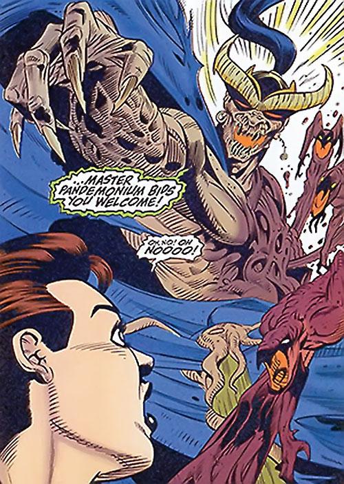 Master Pandemonium (Avengers enemy) (Marvel Comics) demonic form vs. Scarlet Witch