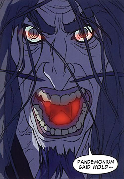 Master Pandemonium (Avengers enemy) (Marvel Comics) older face closeup